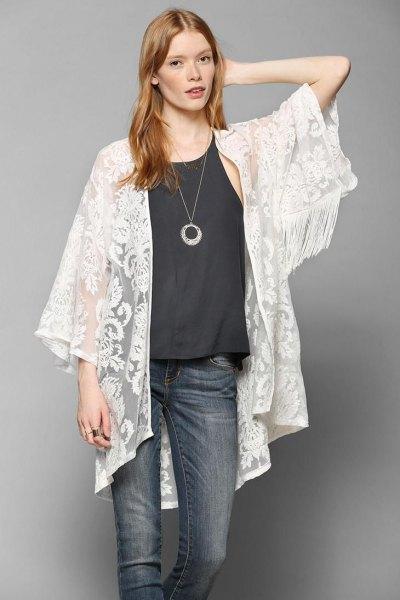 15 Elegant & Ladylike White Lace Kimono Outfit Ideas - FMag.c