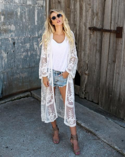 Art Deco White Lace Duster Kimono Duster by Vicci. Dresses up your .
