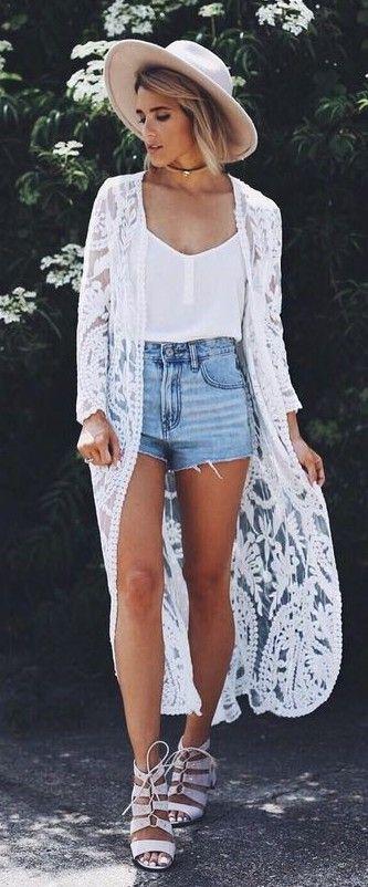 summer #popular #outfitideas White Lace Kimono + White Cami + .