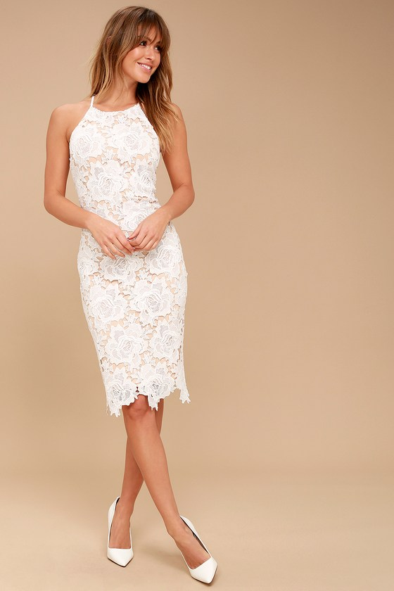 Lulus | Temps De L'Amour White Lace Bodycon Midi Dress | Size .