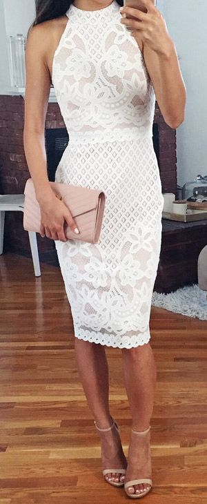 White lace midi dress. women fashion outfit clothing style apparel .