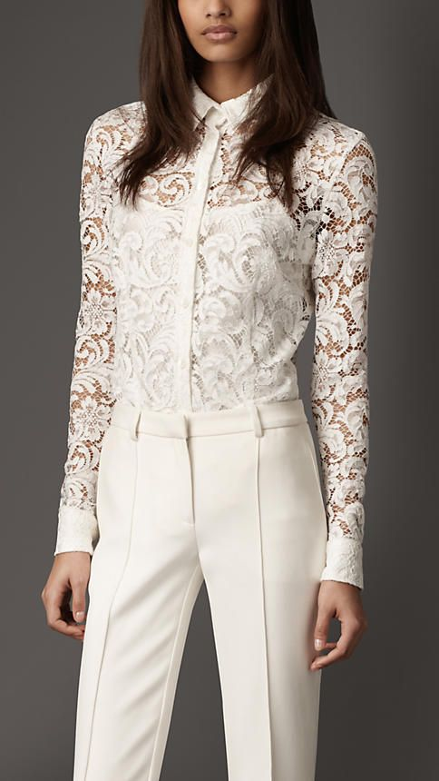 Burberry Lace Button Down Shirt YES PLEASE | Fashion, Lace shirt .