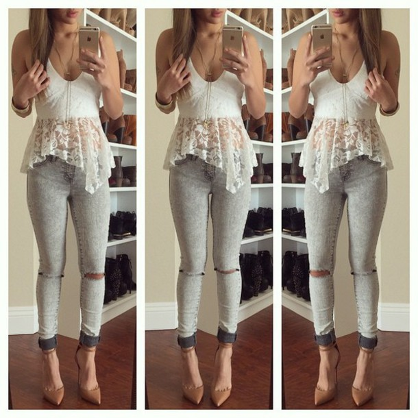 shirt, white, lace, white top, white lace top, lace top, lace cami .