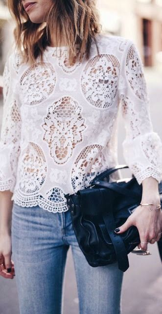 White lace top. | Blusas de encaje, Blusas juveniles moda, Blus