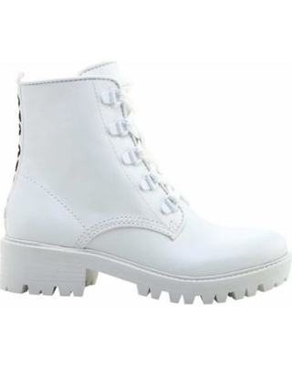 30% Off Women's Kendall & Kylie Epic Combat Boot - White Leather Boo