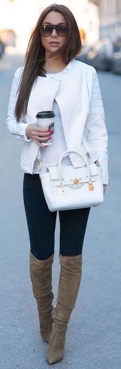 58 Best white leather jacket images | Leather jacket, White .