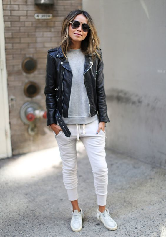 Women's Black Leather Biker Jacket, Grey Sweatshirt, White .