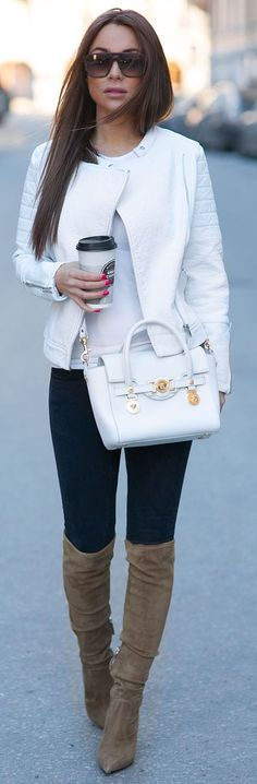 58 Best white leather jacket images | Leather jacket, White .