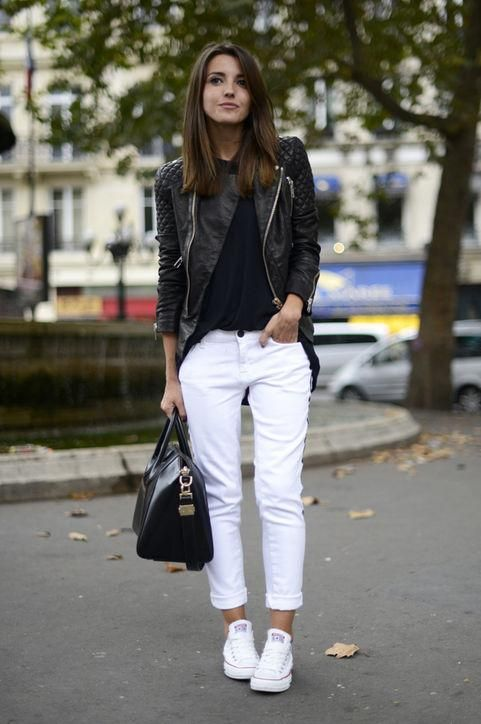 50 Cute New Ways to Wear Black and White | White converse outfits .