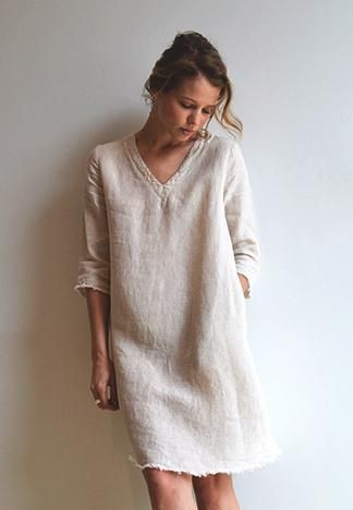 White Linen dress. women fashion outfit clothing style apparel .