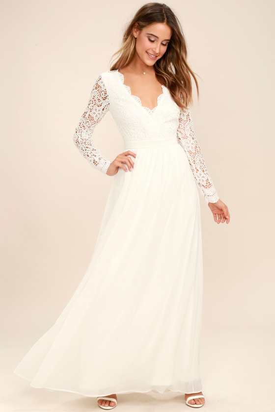 Awaken My Love White Long Sleeve Lace Maxi Dress | White lace maxi .