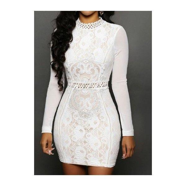 Rotita White Lace Mesh Long Sleeve Bodycon Mini Dress ($25 .