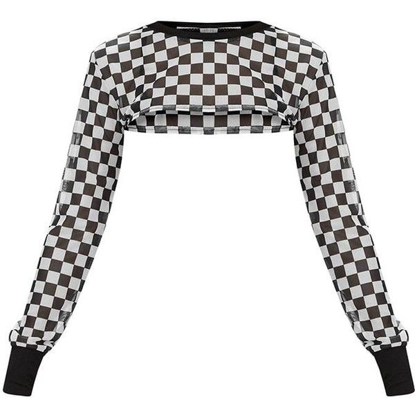 Monochrome Mesh Motocross Checkerboard Print Extreme Crop Top ($15 .
