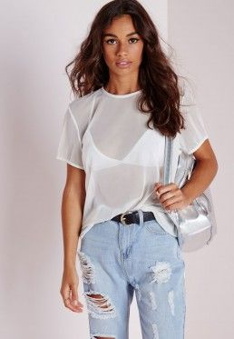 Mesh T Shirt White | White mesh top, Ladies tops fashion, Fashi