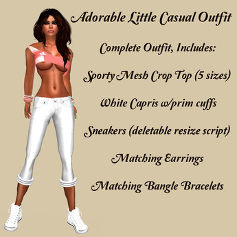 Second Life Marketplace - Cute & Casual-Sporty Peach Mesh Crop-Top .