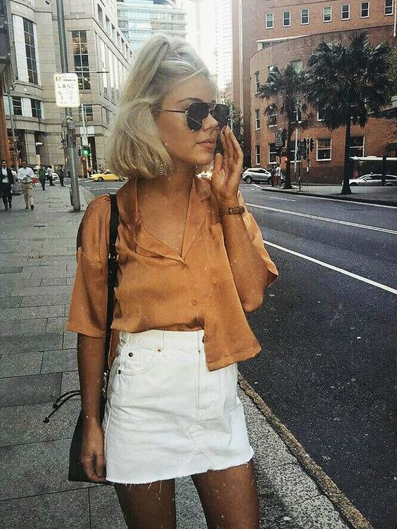 White mini skirt with brown top - LadyStyle (With images .