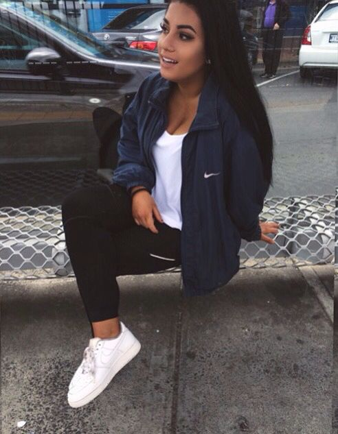 White shoes black leggings white tank top black nike windbreaker .