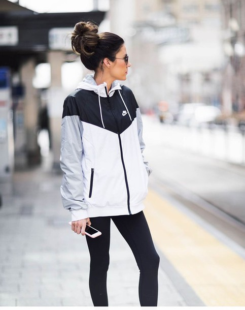 jacket, nike, windbreaker, black and white, black grey and white .