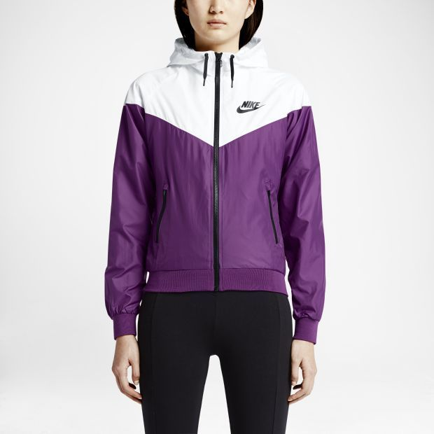 Nike Windrunner Women's Jacket Windbreaker Hoodie Purple White .