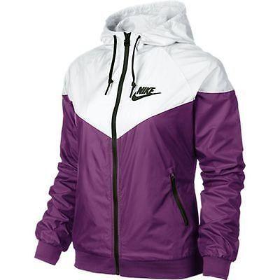 Nike WindRunner Women's Jacket Windbreaker Hoodie Purple White .