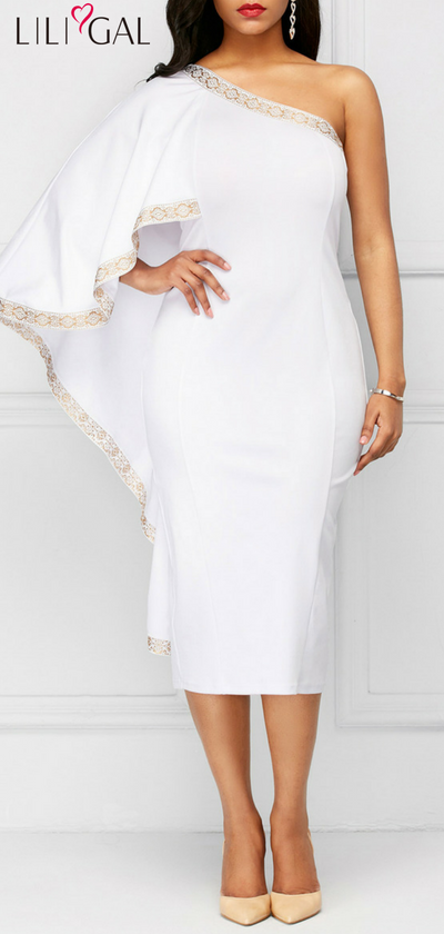 Cape Sleeve White One Shoulder Sheath Dress #liligal #dresses .