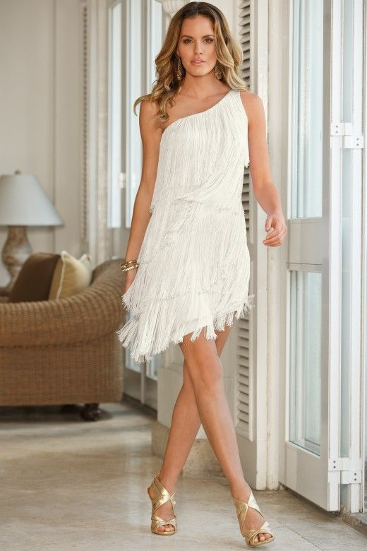One-shoulder fringe dress – white one shoulder dress .