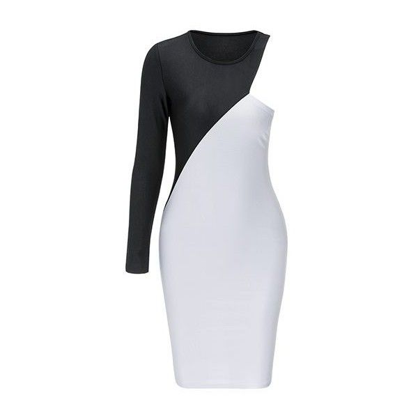 Rotita Black and White One Sleeve Bodycon Dress ($15) ❤ liked on .