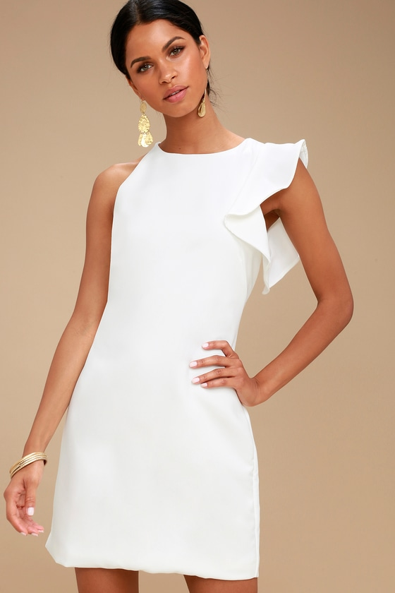 Dinah White One-Shoulder Dress | Little white dresses, White dress .