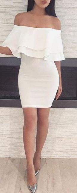 outfit #ideas / white off the shoulder dress | ✧ dress dreams .