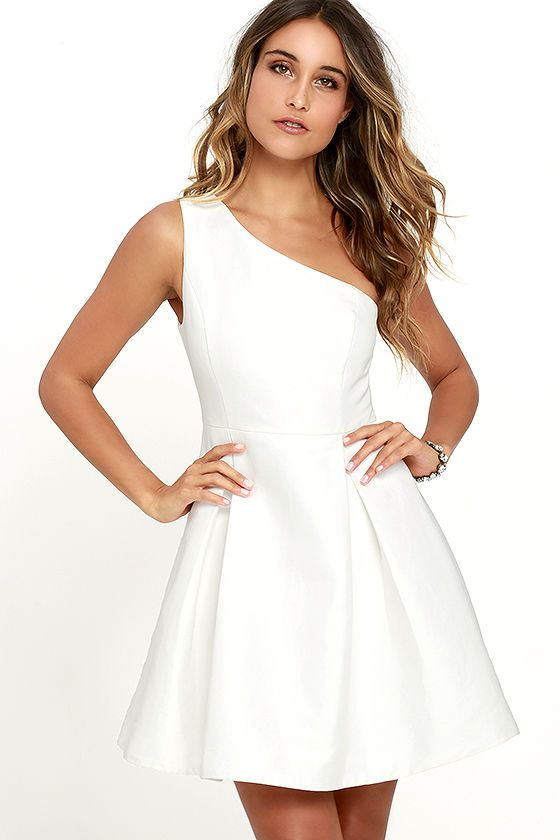 Clothes image by Tasbih | White short dress, Dresses, White flare .