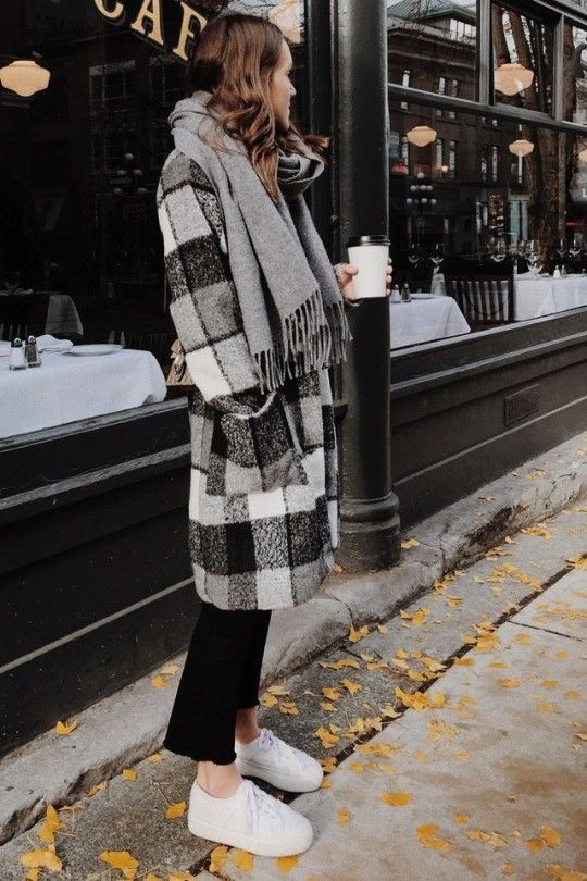 Fall looks + White sneaker outfit + Plaid coat + women's best .