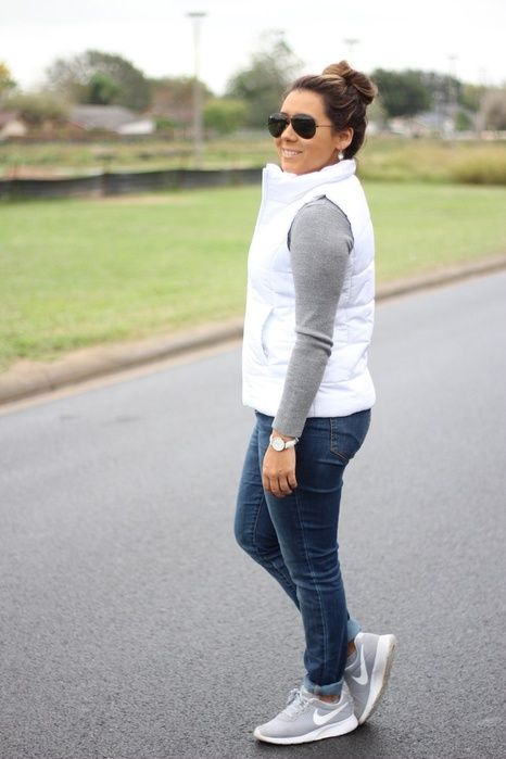 White puffer vest outfit Shop Collective Looks from runwayteacher .