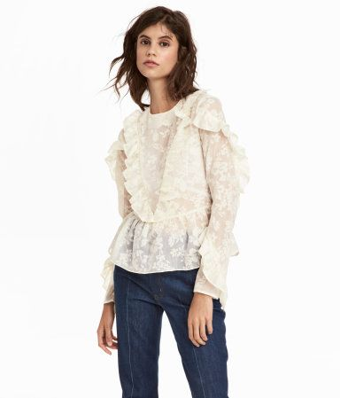 White H&M Ruffled Blouse | Winter Outfit Ideas for Women | Best .