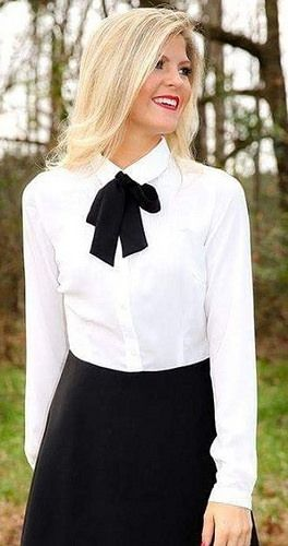 In Proper Work Outfit With White Shirt Black Bow And Skirt | Women .