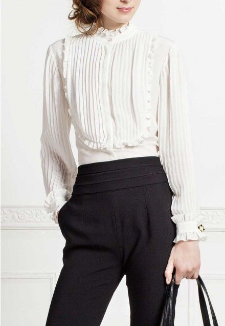 Silk Victorian Ruffle Blouse: Romantic | Anne Fontaine … | Fashion .