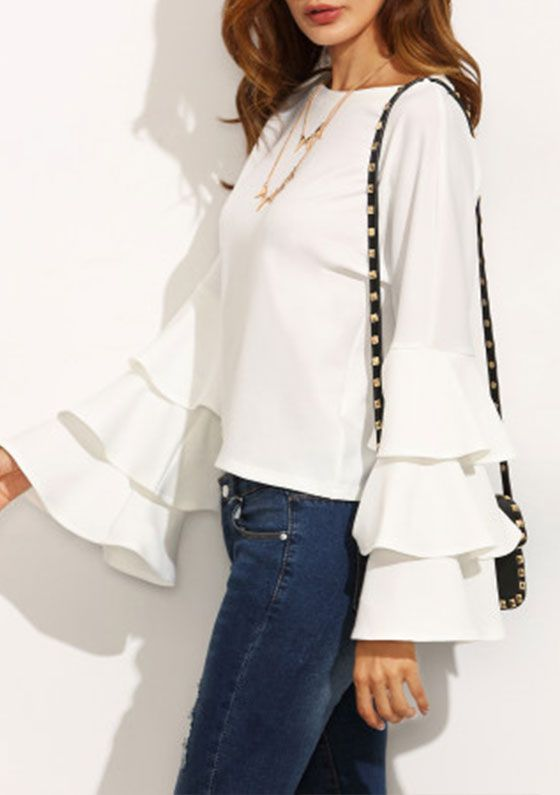 White Round Neck Ruffle Long Sleeve Blouse | Fashion, Ruffle long .