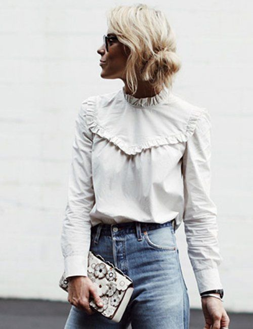Long Sleeve Ruffles Blouse in 2020 | White shirts women, High neck .