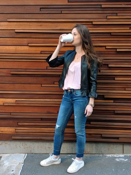 Casual outfit idea: Black ruffle leather jacket, light pink tee .