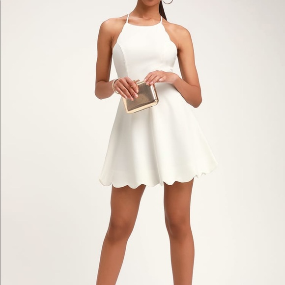 Lulu's Dresses | Lulus White Scalloped Dress | Poshma