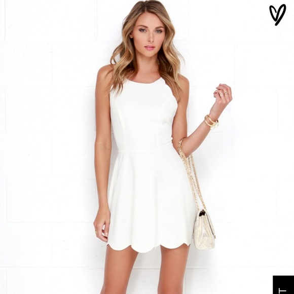 Lulu's Dresses | Lulus Scalloped White Dress | Poshma
