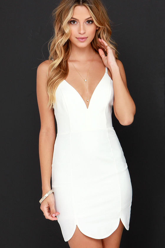 Sexy Ivory Dress - Bodycon Dress - Scalloped Dress - $46.