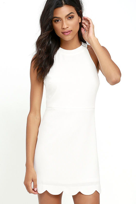 Cute Ivory Dress - Scalloped Dress - Sheath Dress - White Dress .