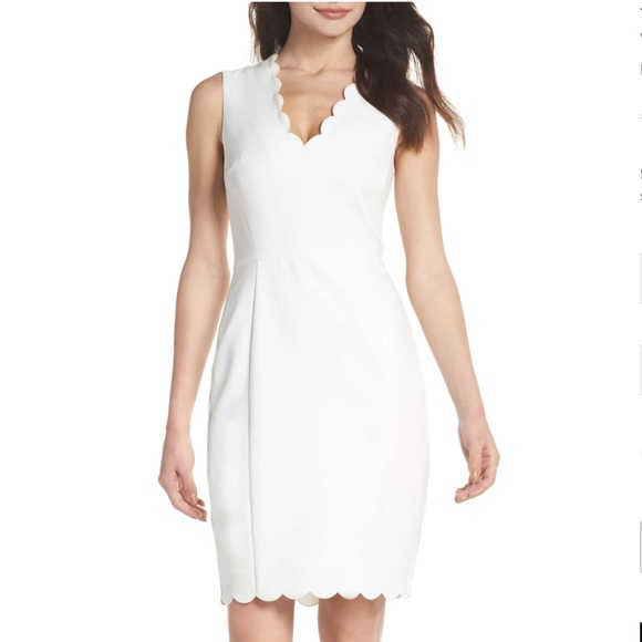 French Connection Dresses | Nwt White Scallop Dress | Poshma