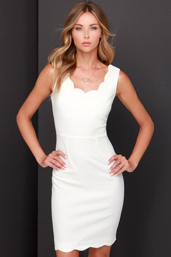 Cute Ivory Dress - Scalloped Dress - Cocktail Dress - White Dress .