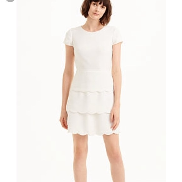 Club Monaco Dresses | White Colby Scalloped Dress | Poshma