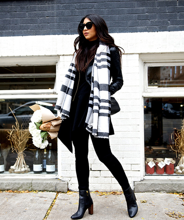 Kayla Seah's oversized black and white scarf looks great worn with .