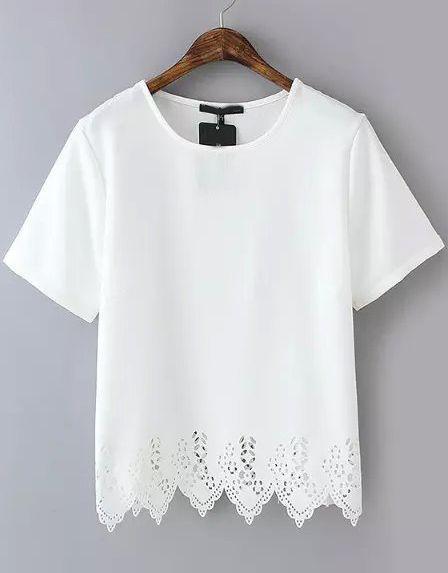 White Short Sleeve Lace Hem Chiffon T-Shirt | Blusas, Blusas .