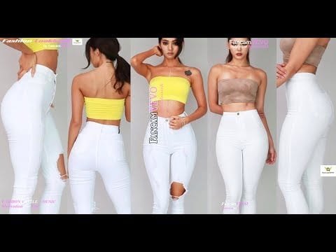SLIM FIT WOMEN FASHION TIPS   SKINNY WHITE JEANS OUTFIT IDEAS ft .