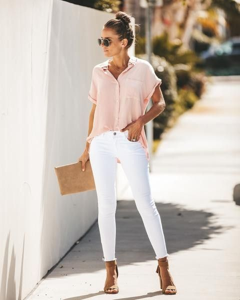 Blush pink top, white skinny jeans. Cute outfit. Cute women's .