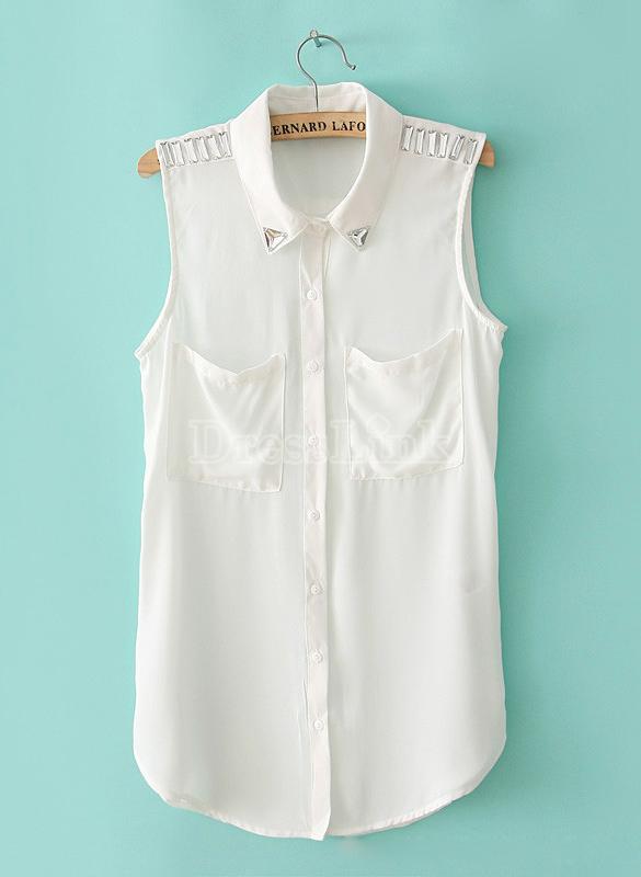 New Women's Sleeveless Turndown Collar Chiffon Shirt Tops Black/Whi